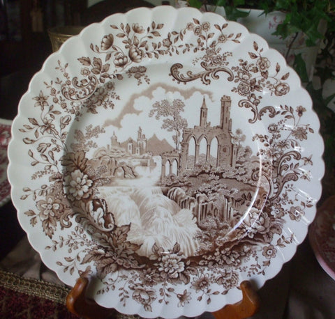 Peaceful Summer Clarice Cliff  Brown English Transferware Plate Cascading Waterfall - Decorative Dishes