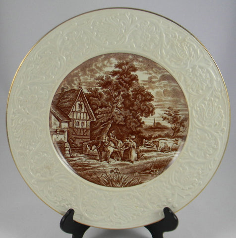 Brown English Transferware Charger Platter Pastoral Cattle Horses Milkmaid Relief Border