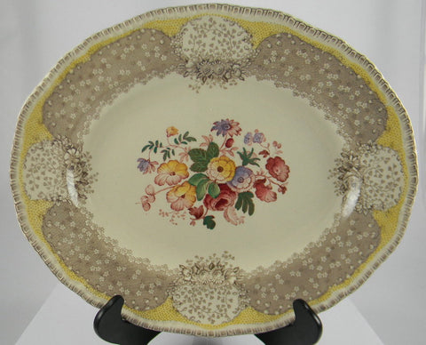 Vintage English Polychrome Taupe Brown and Butter Yellow Two Color Transferware Platter Royal Doulton Tulips Roses Flowers