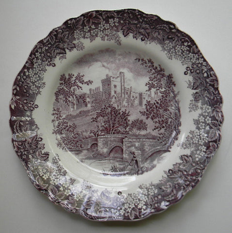 Vintage Purple Romantic England Transferware Plate RARE Fisherman Bridge Horse Castle Flowers