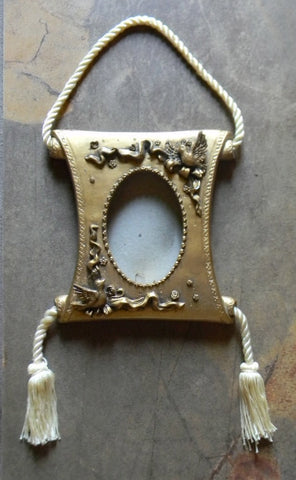 French Victorian Style Figural Birds Roses & Garland Picture Frame with Ivory Braided Hanging Cord and Tassels