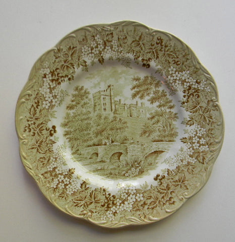 Sage / Olive Green Romantic England Transferware Plate Bridge Castle Flowers