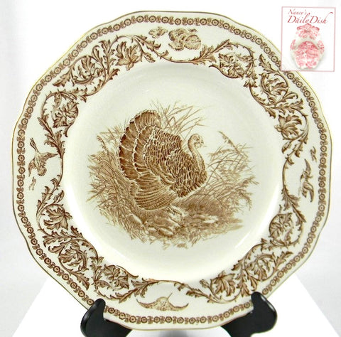 Antique Brown Transferware Staffordshire Thanksgiving Turkey Plate Royal Cauldon