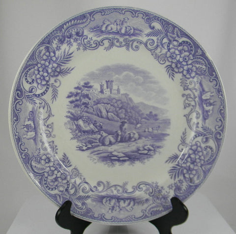 Rare Antique English Lavender Transferware Charger / Plate Pastoral Grazing Sheep Scrolls Castle & Purple Transferware