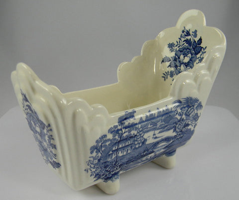 Blue and White Blue Transferware  Tonquin Cracker Cradle Dish - Scenic Sailboat Swans and Roses Clarice Cliff Staffordshire Vintage