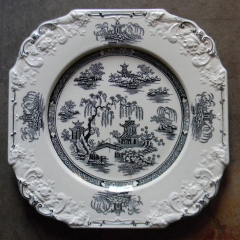 Antique Chinoiserie Plate Black English Transferware Square Octagon Shape Floral Relief Border George Jones Crescent Black Transferware