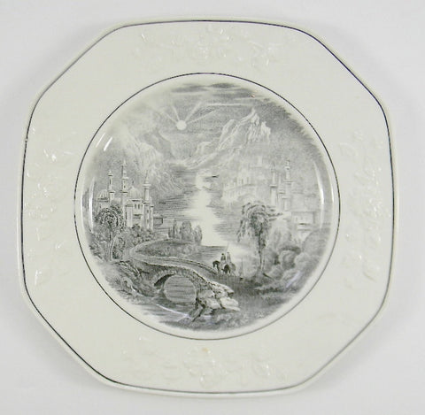 Antique Staffordshire China English Transferware Black Plate Square Octagon Floral Relief Border George Jones  Path Through Mountain Village