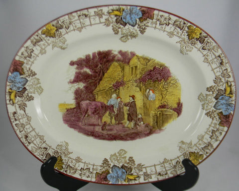Spode Byron Pastoral Brown Transferware Platter Cattle Child Dog Byron RARE COLOR Robins Egg Blue Burgundy and Gold