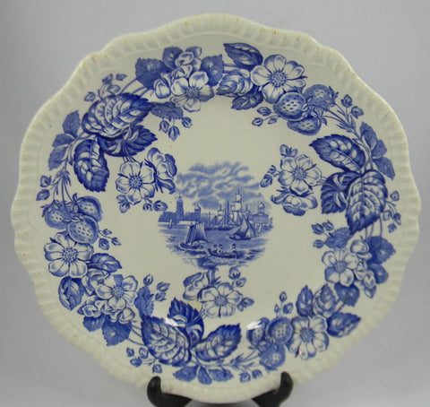 Spode Copeland Vintage English Transferware Blue and White China Plate Sailing Ship Old Salem Flowers Strawberries Nautical Decor