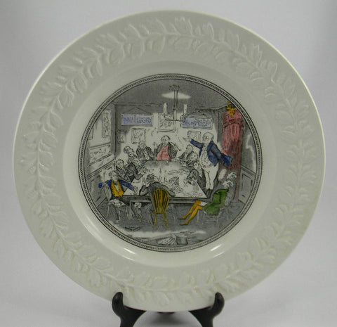 Vintage English Ironstone Black Transfeware Plate Charles Dickens Pickwick Papers Mr Pickwick Addresses the Club