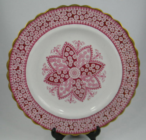 Vintage Spode Copeland Pink Red Transferware Dinner Plate Snowflake Plate Kaleidoscope Lace Rose Christmas Dish