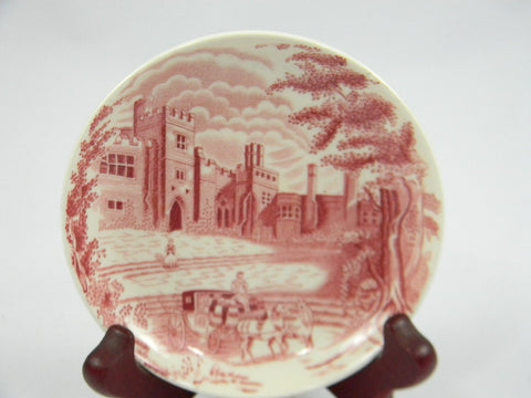 Red Pink Transferware Coaster Butter Pat or Small Canape Plate  Haddon Hall English China Mini Plate
