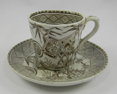 Aesthetic Movement Demitasse Cup & Saucer J M & Son Bamboo Victorian Pottery Staffordshire
