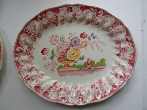 Large Vintage English Transferware Platter Royal Doulton Pomeroy - Oval Serving Tray - Urn with Roses & Tulips - Brick Wall