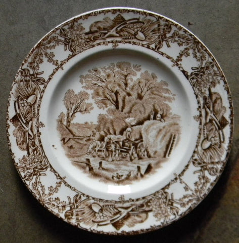 Brown Transferware Rural Scenes Plate Harvest Loading Hay Farm and Horse Scene Farmhouse Style Cottage Decor