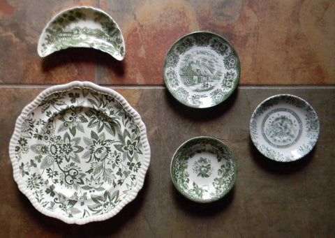 Set of 5 Different Antique / Vintage Green Transferware Plates  Instant Wall Display or Collection Asymmetrically Arranged