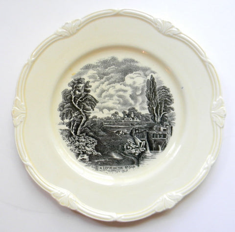 "Vintage Black Transferware 8"" Plate / Bowl Scenic Lock on the Stour River English Earthenware Staffordshire China John Constable Painting Grindley"