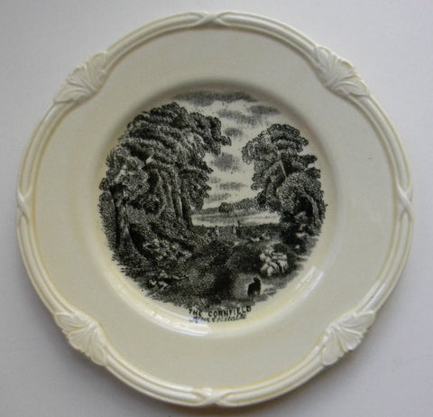 Black Transferware Scenes After Constable English Transfer Ware Plate The Cornfield / The Drinking Boy  Pastoral Scene Flock of Sheep