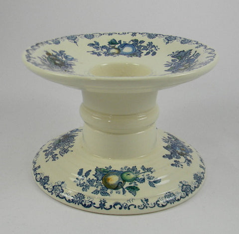 Vintage English Ironstone Blue Transferware Masons Fruit Basket Ham Stand Counter Shop Display - Plant Holder - Candle Stand