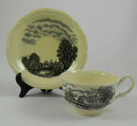 Black Transferware English Tea Cup & Saucer Scenes After Constable Cottage Windmill Dedham Mill John Constable Painting