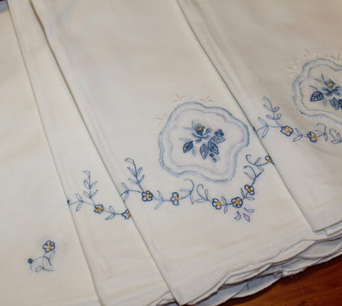 Set of 6 Antique / Vintage Embroidered Tea Towels or Cloth Napkins  w/ Shades of Blue Flowers 21""