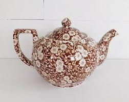 English Teapot  Brown Calico Chintz Floral Transferware Earthenware