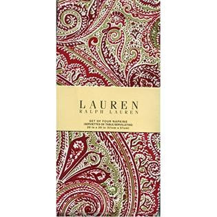 Set 4 Ralph Lauren Paisley Dinner Napkins Brand New In Package Fenton Red / Green
