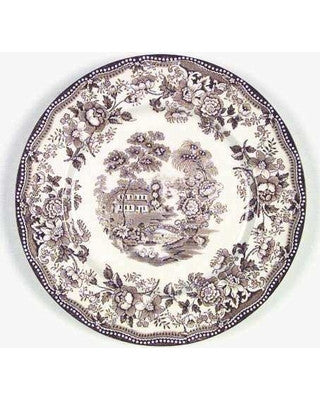Wading Swans and Roses Brown Transferware Plate Tonquin 10 inch Royal Staffordshire