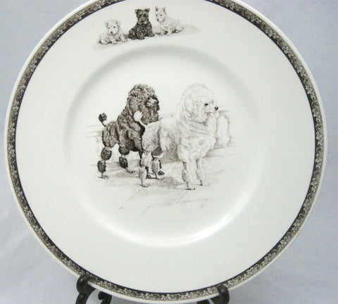 Vintage Brown English Transferware Plate Gorgeous Wedgwood Poodle Terrier & Working Dog Plate March winds