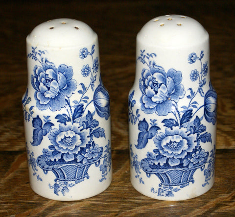 Blue Transferware Salt & Pepper Shakers Charlotte Basket of Flowers Royal Staffordshire