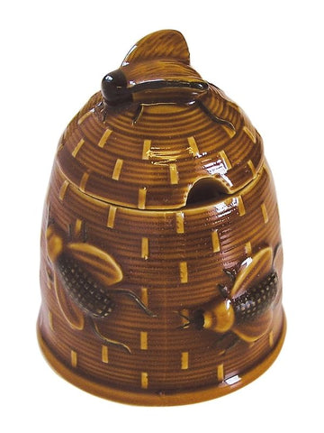 Golden Amber Majolica Honey Pot Jam Pot or Covered Candy Jar Basket Weave w/ Bee on Lid
