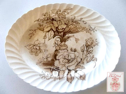 Brown Transferware English Victorian Platter Pedestal Trailing Flowers