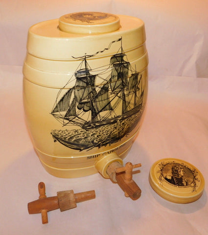 Black Transferware SUPER RARE Black Transfer English Beverage Dispenser Barrel Ship Caroline Commodore Bainbridge