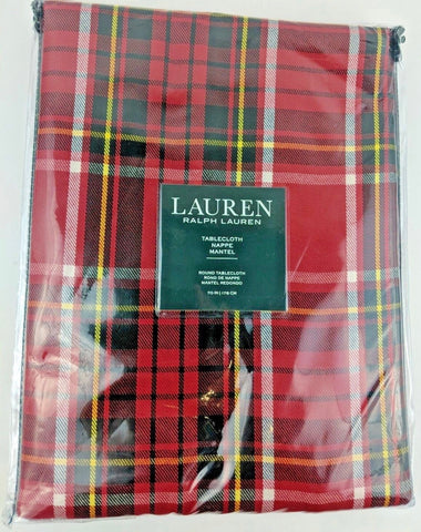 "70"" Round Ralph Lauren Tartan Plaid Tablecloth Red / Black / Yellow / White New in Package"