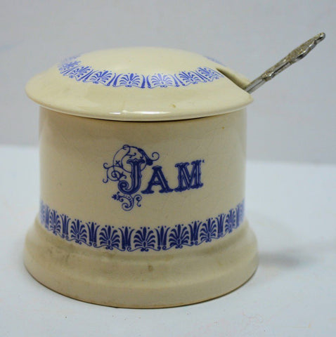 Vintage English Blue and White Transferware  Advertising Jar Jam Preserves Pot