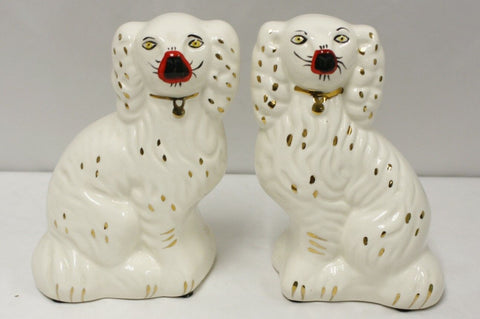 Vintage Pair White w/ Gold English Staffordshire Spaniel Dog Figurines 8""
