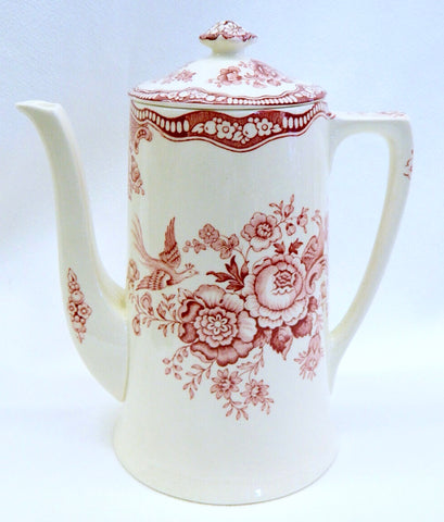 Crown Ducal Red Transferware Coffee Pot / Tall Tea Pot Pheasants Birds Roses c 1930