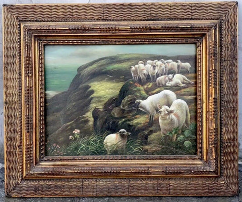 Antiqued Grazing Seaside / Cliff Flock of Sheep Oil Painting Framed Ornate Gilded / Gold Frame