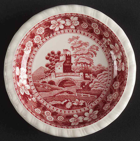Old Mark Red English Transferware Butter Pat Spode Copeland Tower Bridge Birds