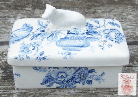 RARE Figural Cow Topped Lidded Butter Box or Tea Caddy Charlotte Blue Transferware