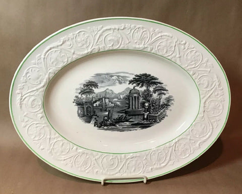 "12"" Vintage Wedgwood Black Transferware Platter River Scene Embossed  Border Green Trim"