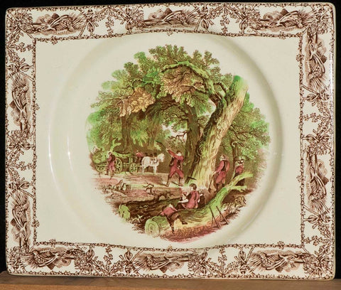 Rectangle Brown Polychrome Transferware Platter Biarritz Platter Tray Mother Children Dog Woodcutter  Gardening