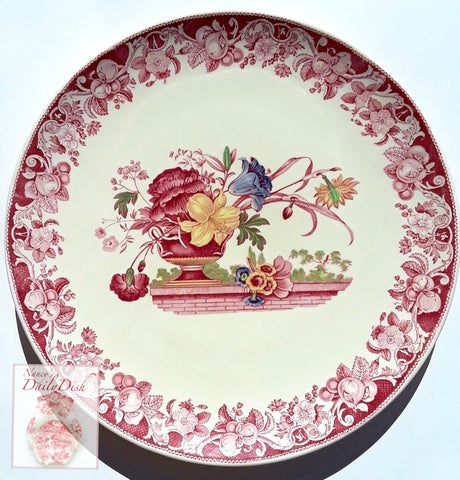 HUGE Vintage Red Transferware Polychrome Tray / Chop Plate / Platter  Royal Doulton Pomeroy Urn with Flowers