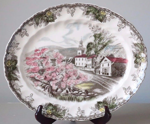 Brown ish Olive English Transferware Platter Friendly Village Church Pink Cherry Blossoms   Johnson Bros