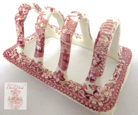 RARE Masons Vista Vintage English Red Transferware Toast Rack or Letter Organizer