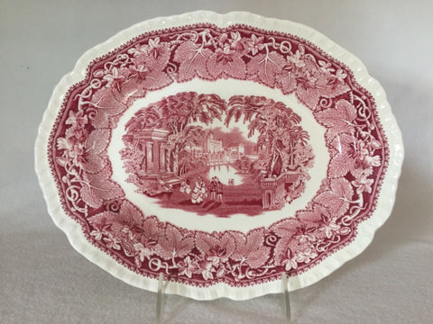 Masons Vista Red Transferware Scenic Oval Platter Park Couples Staffordshire