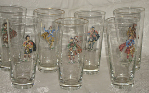 Set of 7 Vintage Scottish Highlander Clan Tartan Kilt Drinking Glasses / Tumblers