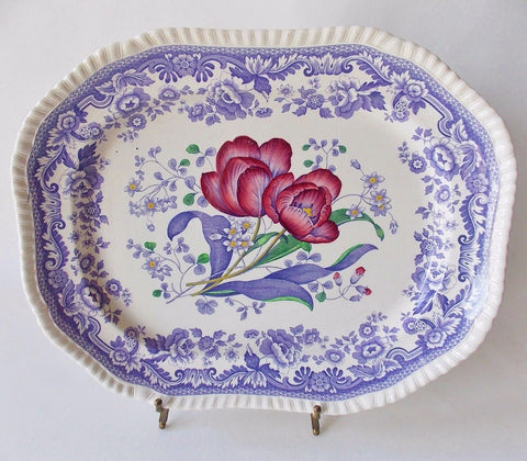 "Large 15"" Spode Mayflower Periwinkle Purple  / Lavender Transferware Platter w/ Hand Painted Pink Flowers"