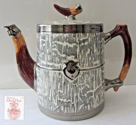 Large Vintage Faux Bois Black Transferware Teapot Coffee / Tea Pot Silver Shield Wood Grain Antler Shaped Details STUNNING