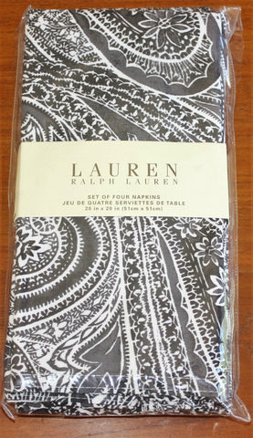 Ralph Lauren Paisley Napkins Brand New / Unused - Black White Gray - retired